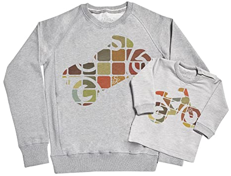SR - Dads Bike & Babys Bike Father & Baby Sweatshirt Gift Set - Grey,
