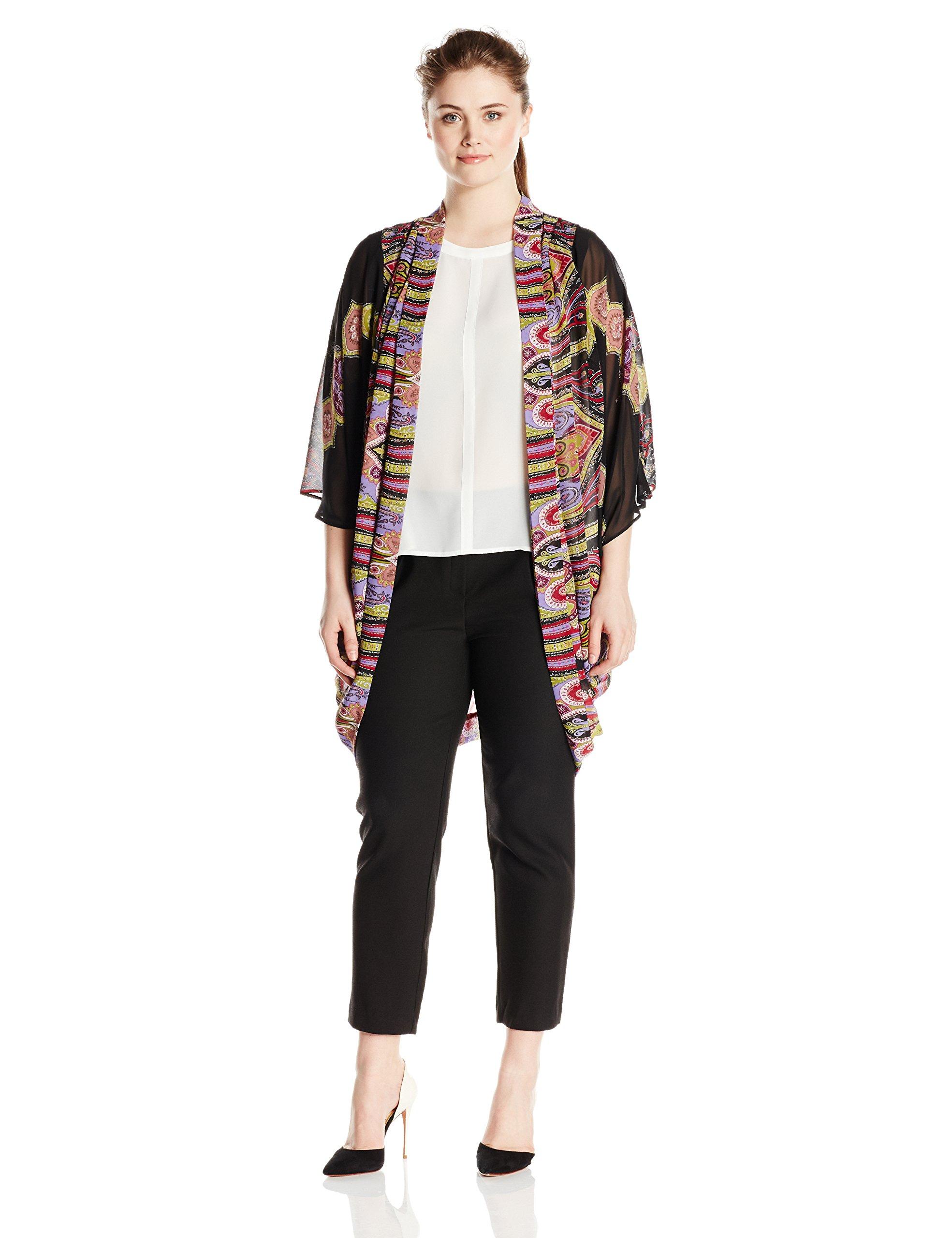Single Dress Women's Plus Size Cocoon Kimono Sweater, Black/Multi, 3X