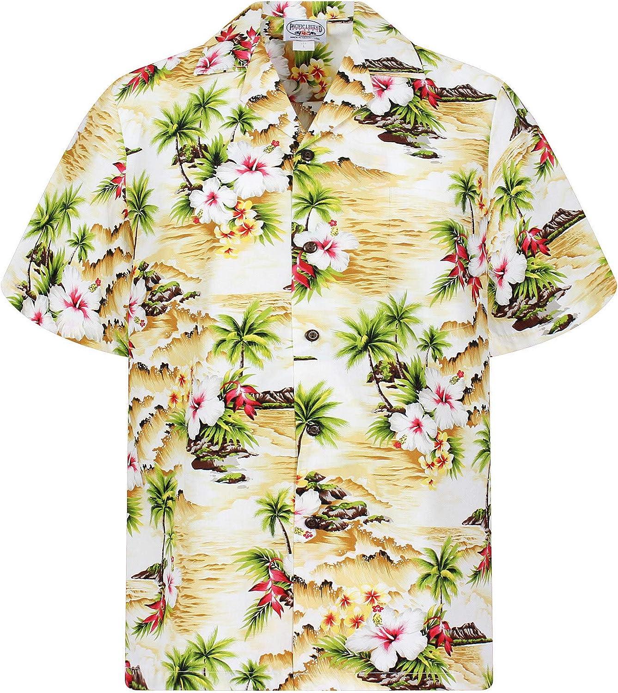 Pacific Legend | Original Camisa Hawaiana | Caballeros | S - 4XL | Manga Corta | Bolsillo Delantero | Estampado Hawaiano | Ondas | Palmeras | Flores | Beige: Amazon.es: Ropa y accesorios