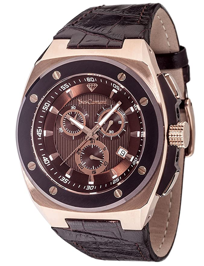 Amazon.com: Yves Camani Quentin Mens Quartz Watch Coffee Rosegold Chronograph YC1072-A Leather Strap: Watches