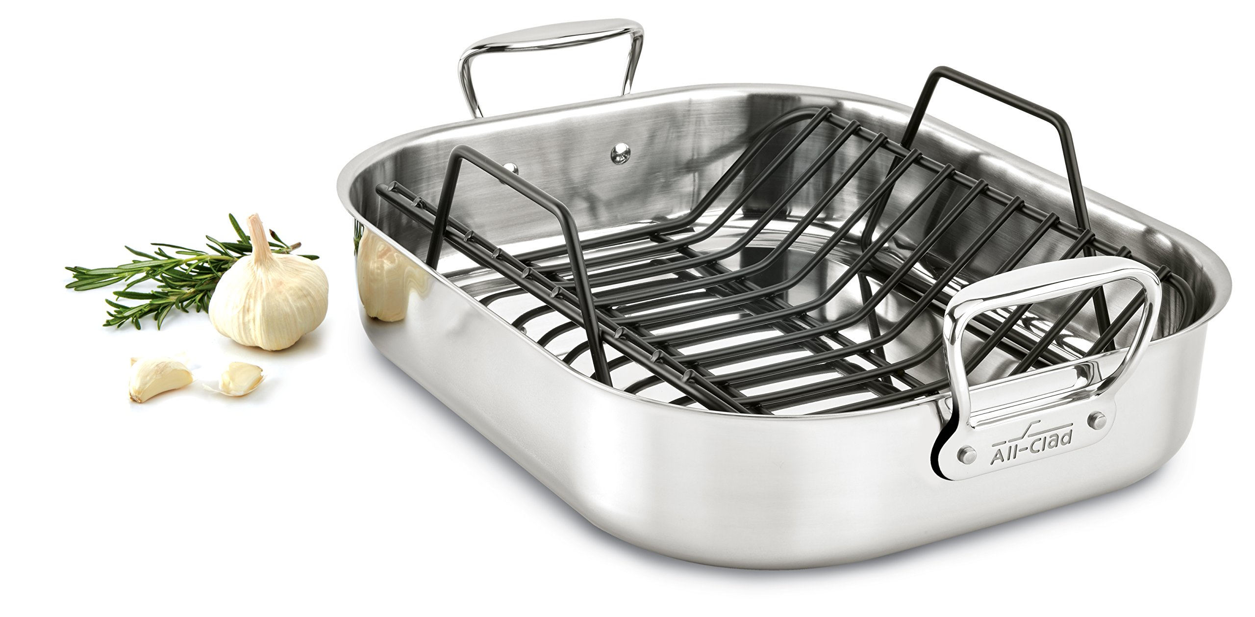 All-Clad E752C264 Stainless Steel Dishwasher Safe Large 13-Inch x 16-Inch Roaster with Nonstick Rack Cookware, 16-Inch, Silver by All-Clad (Image #2)