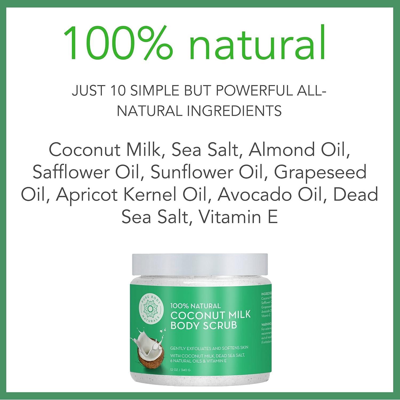 Pure Body Naturals - Exfoliante Corporal De Leche De Coco Con Sal Del Mar Muerto, Aceite De Almendras Y Vitamina E Para Todos Los Tipos De Piel De Pure Body ...