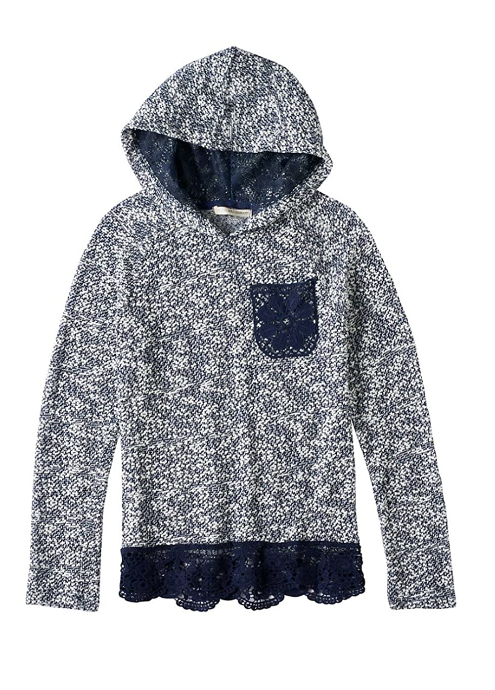 Blue Print Self Esteem Girls NEP Lace Trim Sweater Hoodie