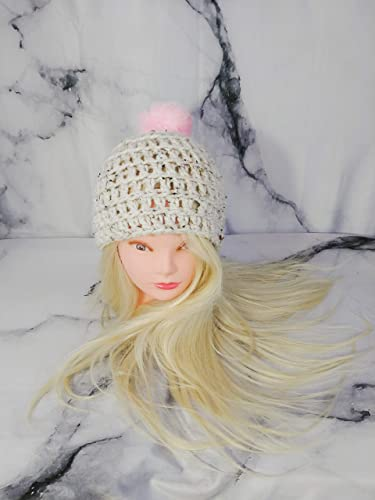 c1cf1cd2477e8 Tweed Beanie with Pink PomPom, Off-white Toque with Faux Fur Pom Pom ...