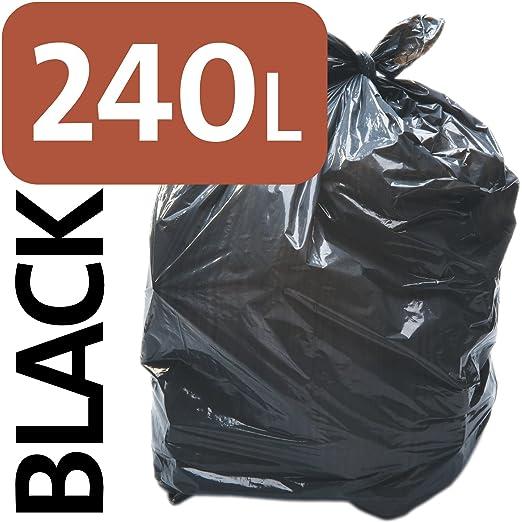 Bolsas de basura Aline de 240 L, para cubo con ruedas, resistentes, de polietileno negro, polietileno, 3 sacks