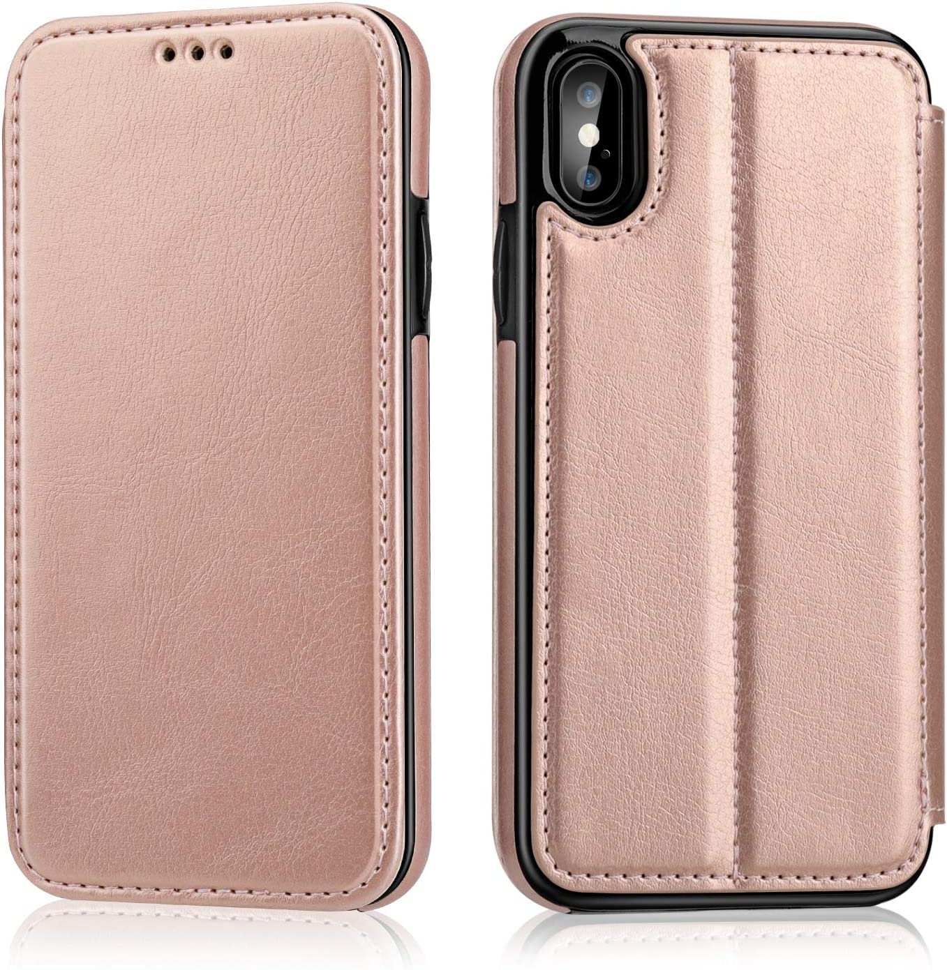 OT ONETOP iPhone Xs iPhone X Flip Case with Wallet Card Holder, Premium PU Leather Hidden Magnetic Closure Kickstand Protective Cover Case Compatible with iPhone Xs/X 5.8 Inch - Rose Gold