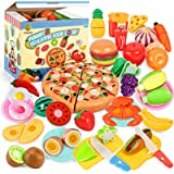 70PCS Pretend Play Food Sets for Kids Kitchen Toys Accessories Set BPA Free Plastic Pizza Toy Food Fruits and Vegetables Dish