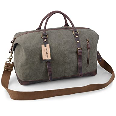 b7d5f5fbef5e Jack Chris Oversized Canvas Leather Trim Travel Tote Duffel shoulder handbag  Weekend Bag CB1004 (Army green
