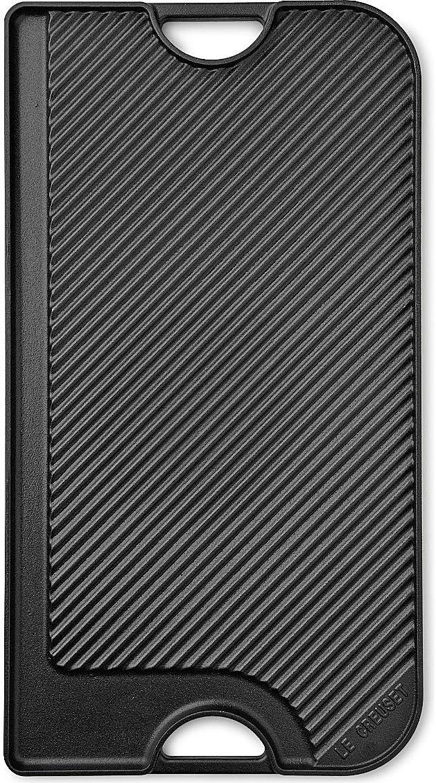 Le Creuset 20066000000060 Parrilla de hierro fundido, Rectangular, 47 x 23 cm, Apto para todas las fuentes de calor, incl. inducción, 0.4 litros, Negro mate