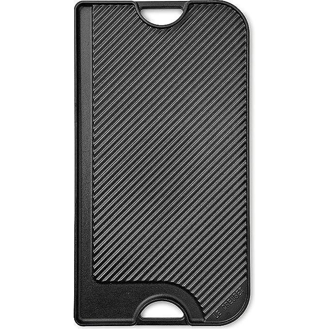 Le Creuset - Parrilla Reversible Larga de hierro colado esmaltado, 46cmX25,50cm, color negro mate