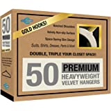 Closet Complete Premium Quality True-Heavyweight Virtually-UNBREAKABLE Velvet Hangers 360º Spin GOLD Hooks, Ivory, 80-gram, Set of 50