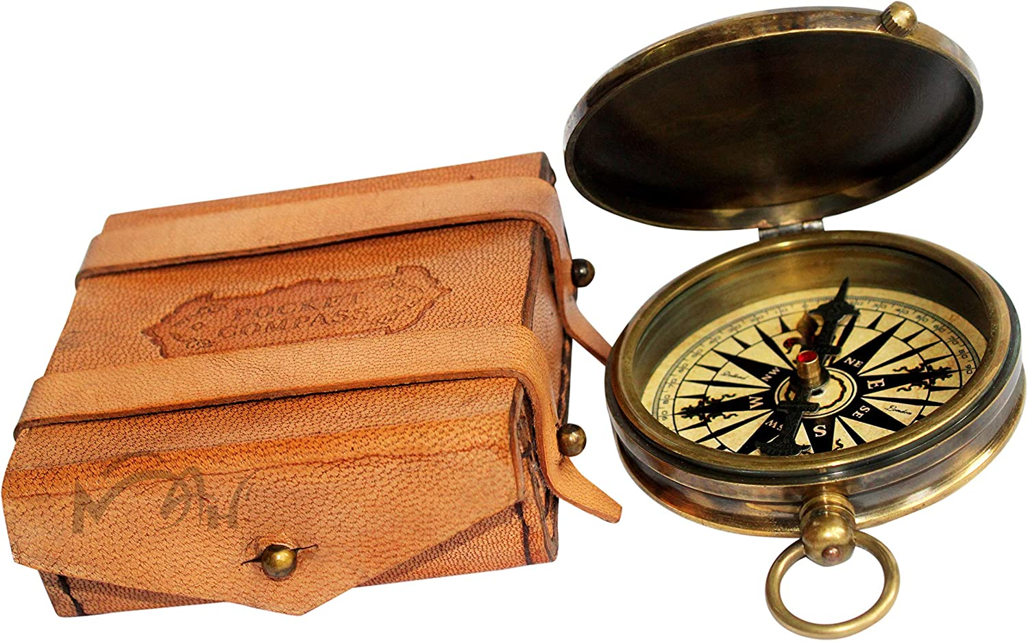 Antique Robert Frost Poem Compass-Pocket Compass w Leather Case New Year Gift
