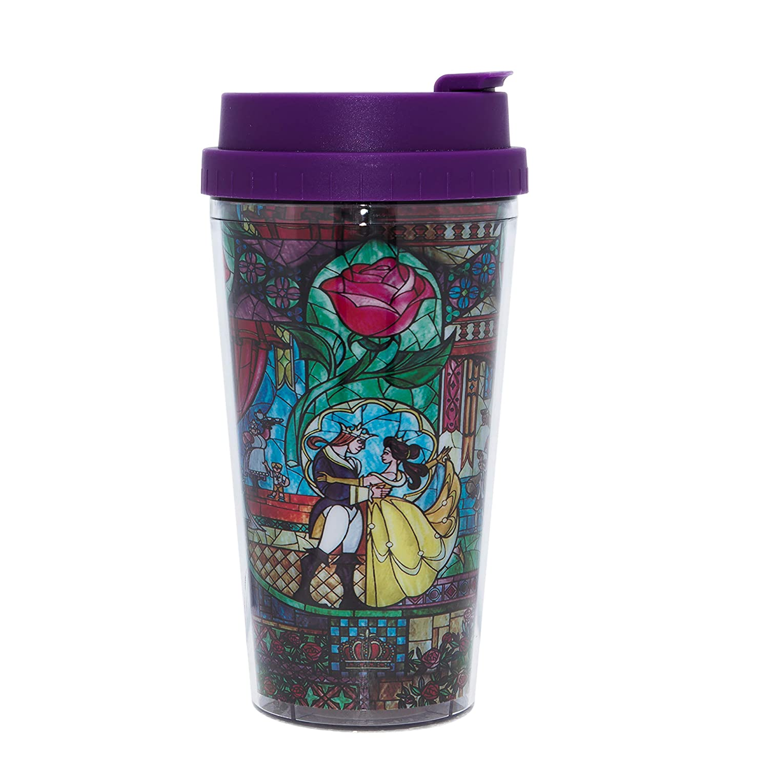36c4777e33 Amazon.com: Disney Princesses DP1231B2 Beauty and The Beast Stained Glass  Double Wall Plastic Travel Mug, 16-Ounce Multicolor: Kitchen & Dining
