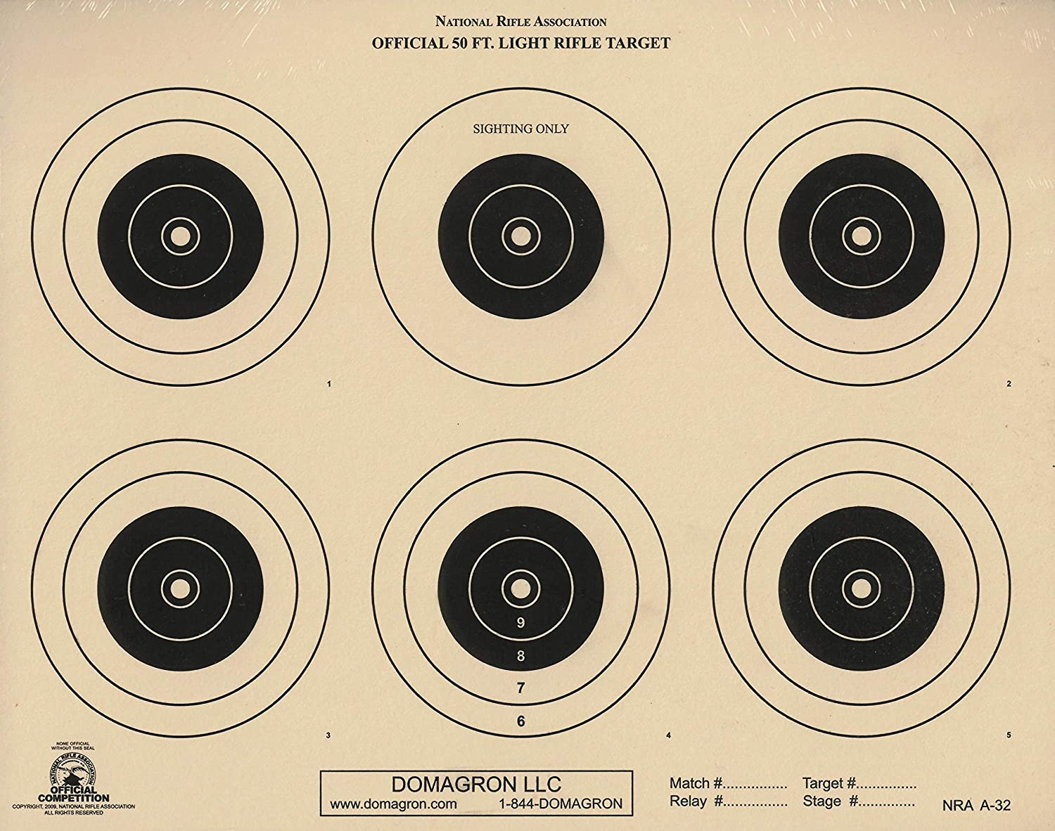 6 bulls, 500 A32 Tagboard A-32 NRA Official 50 Foot Light Rifle Target