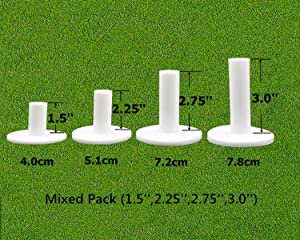 FINGER TEN Golf Rubber Tees Driving Range Value 3/4 Pack, Mixed or Same Size 1.5'' 2.25'' 2.75'' 3'' for Practice Mat