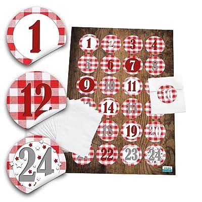 24 bolsas de adviento Set Blanco (7,5 x 10,2 cm) y 24 redondas, pegatinas 4 cm rojo y blanco cuadros Números 1 hasta 24 para la ADVENT de Adviento para manualidades; 1 A calidad.: Oficina y papelería