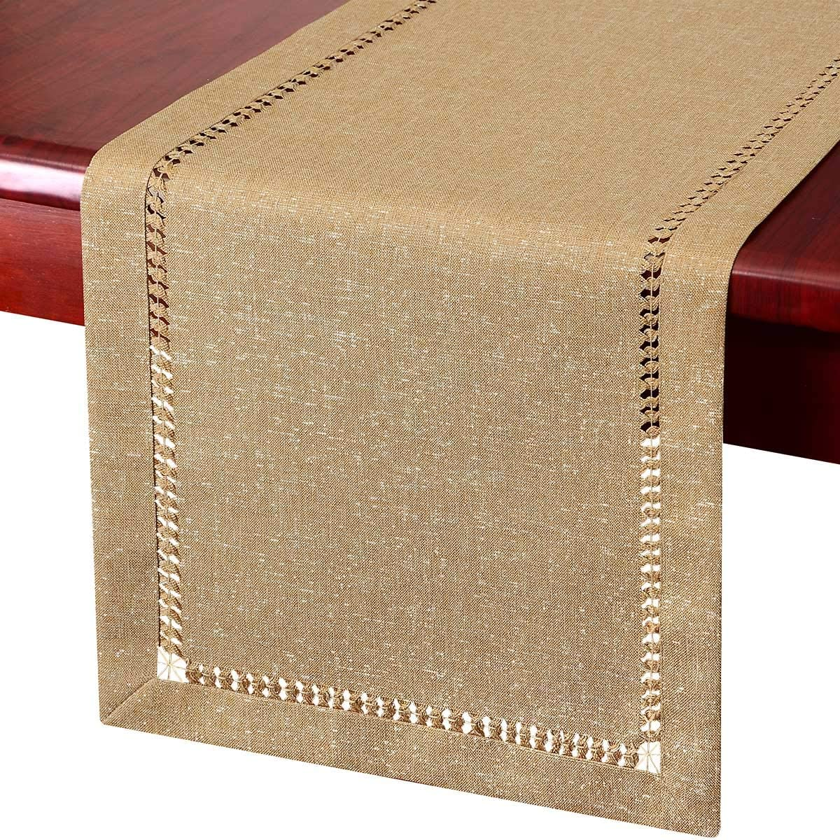 Grelucgo Handcrafted Solid Color Dining Table Runner Dresser Scarf Double-Hemstitched Aqua, 14 x 48
