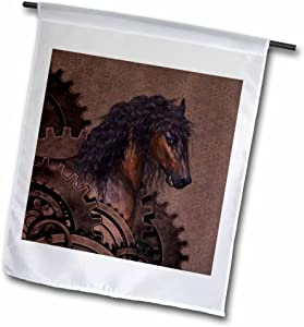 """3dRose A Awesome Brown Horse with A Steampunk Background - Garden Flag, 12 by 18"""""""