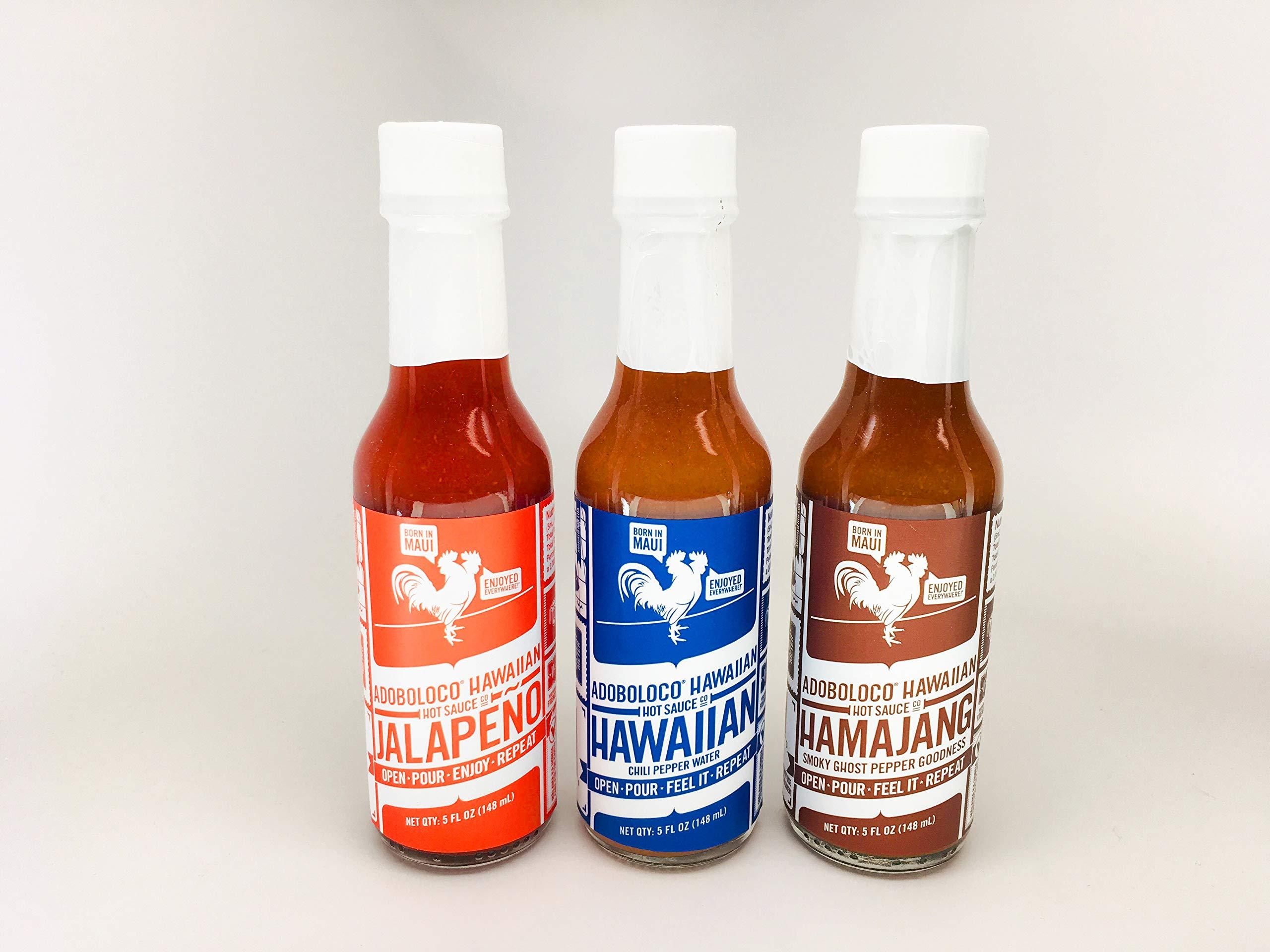 Adoboloco Jalapeño, Hawaiian, Hamajang Smoked Ghost Pepper - Adoboloco Hot Sauce - 3, 5oz Bottle Variety Pack