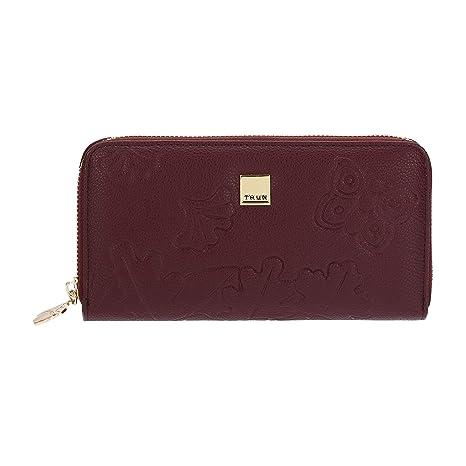 73f3f2c4b7 THUN® - Portafoglio da Donna Grande con Cerniera - Colore Bordeaux -  Morbida Ecopelle -