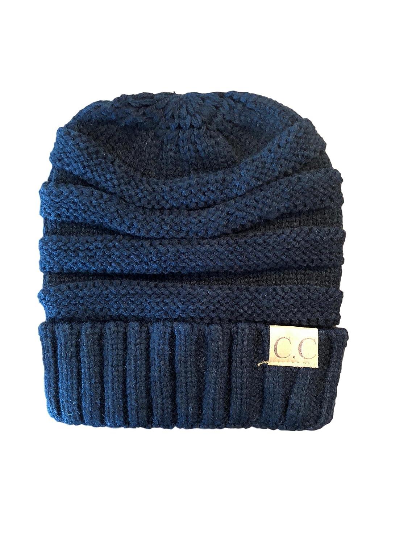Black Women's, Teen's, Kids, CC Style Knit Winter Hat