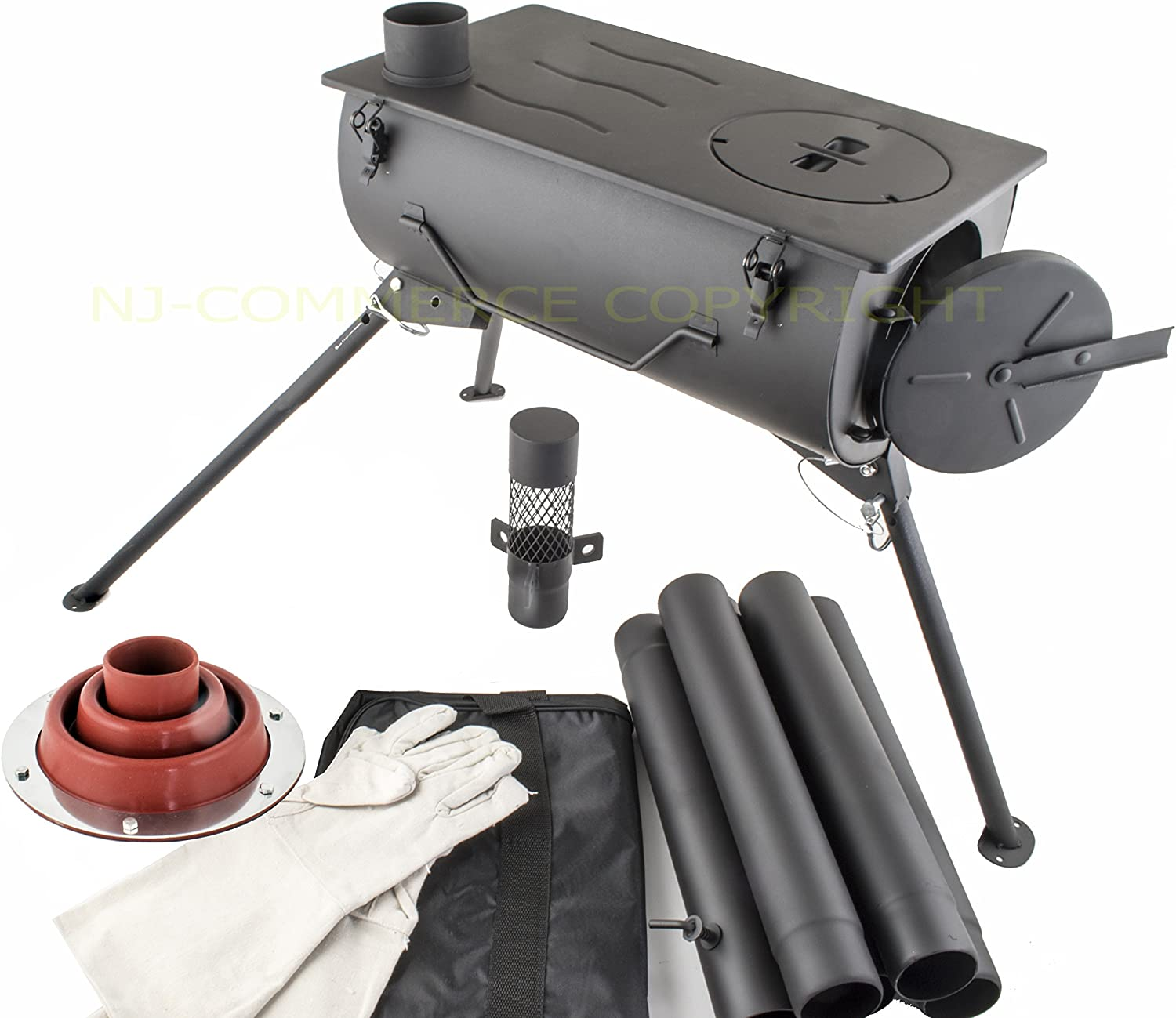 NJ Comfort Portable Wood Burning Stove Camping Cooker with Carry Bag and Flashing Kit