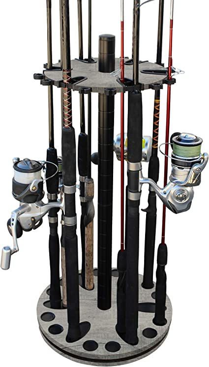 Amazon Com Rush Creek Creations 24 Round Spinning Fishing Rod Rack Fishing Pole Holder And Storage Barn Wood Sports Outdoors