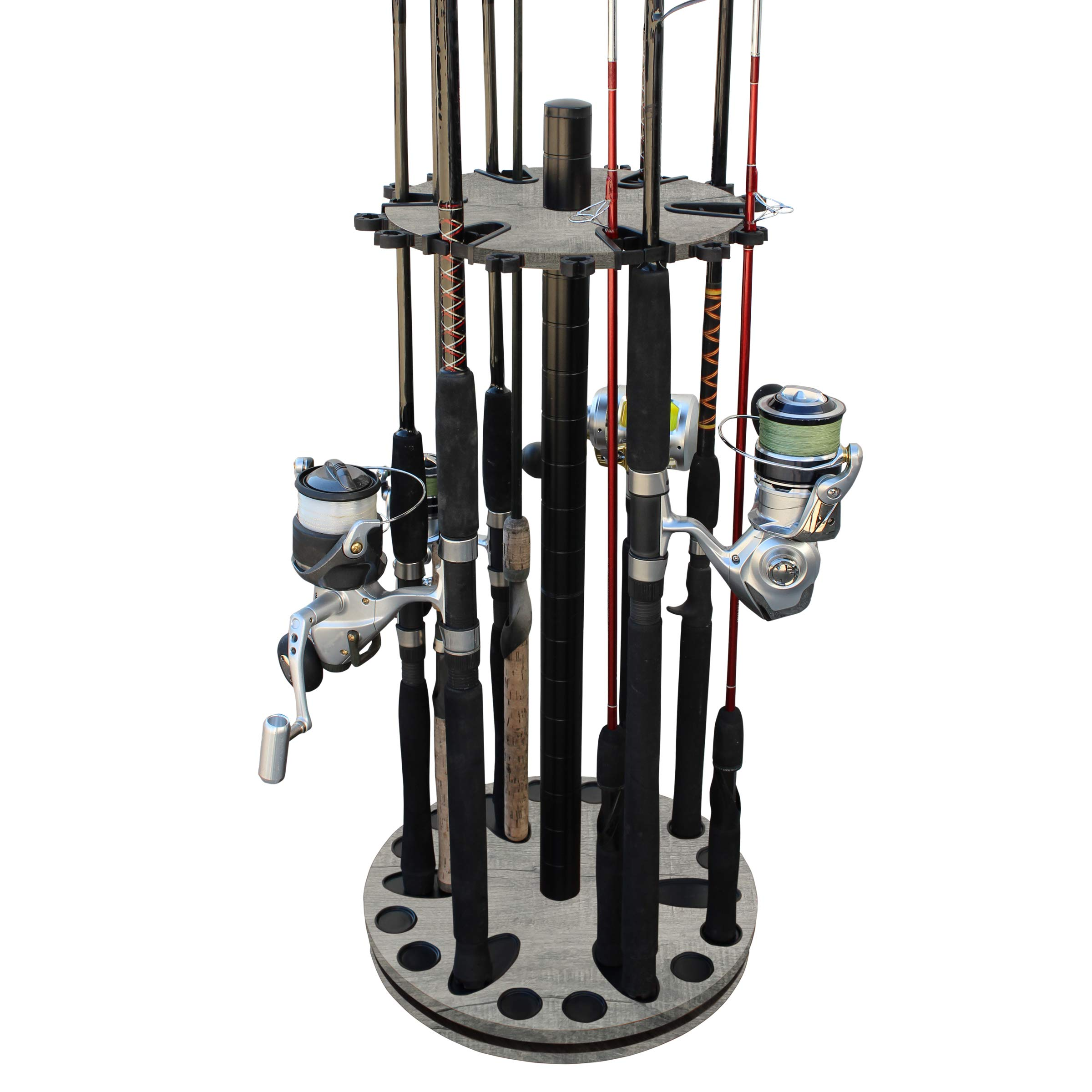 Rush Creek Creations 24 Round Spinning Fishing Rod/Pole Storage Floor Rack Barn Wood Finish - Features Heavy Duty Steel Post - No Tool Assembly