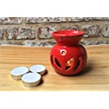 FnP Handcrafted Aroma Diffuser / Oil Burner with 3 Tealight Candle (Without Oil | Red)