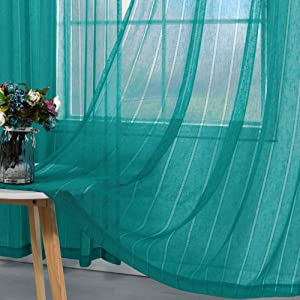 Teal Curtains 84 Inch Length for Bedroom Set 2 Rod Pocket Cotton Linen Country Drape Stripe Pattern Beach Coastal Boho Decor Light Filtering Semi Sheer Flowy Curtain for Living Room Outdoor 52x84 Long