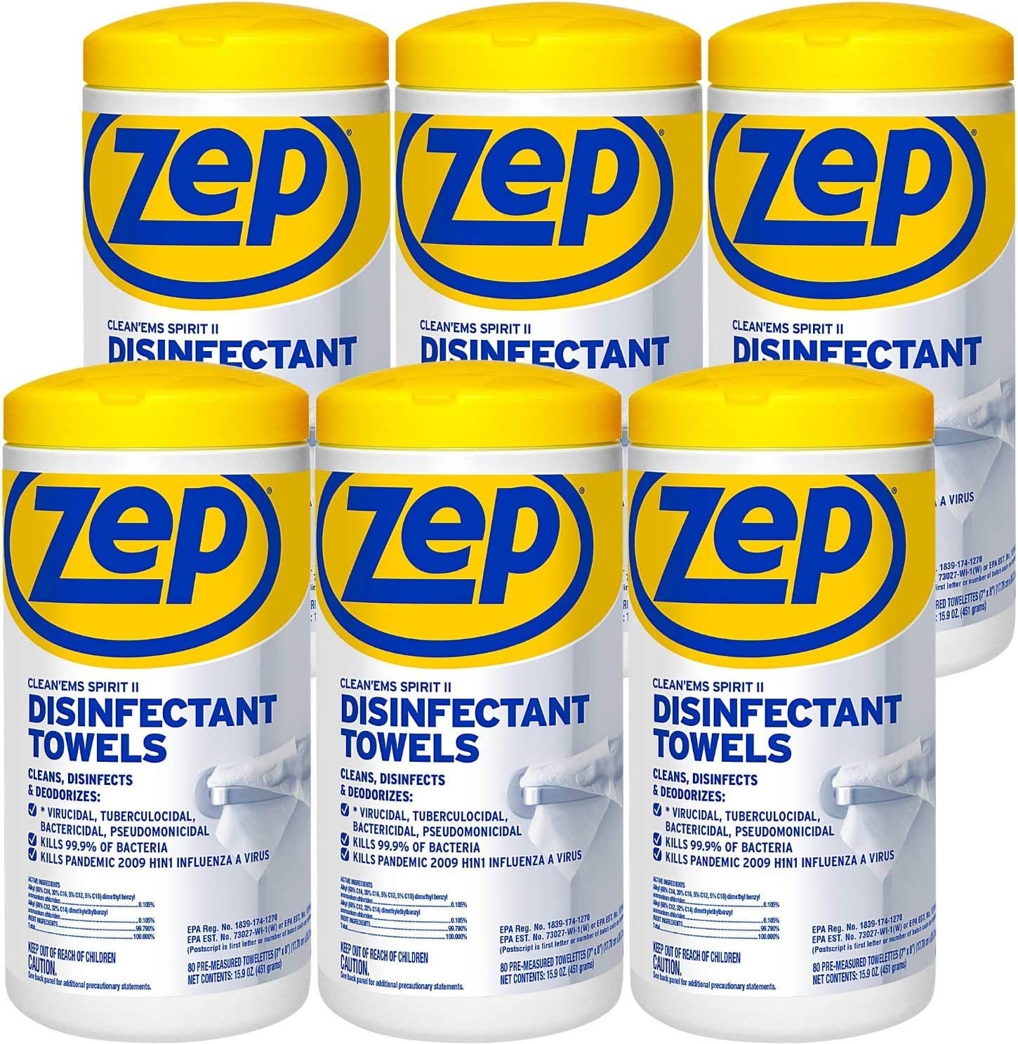 Zep Spirit II Disinfectant and Sanitizing Wipes 80 Wipes Per Container Case of 6 EPA Registered Kills 99.9% of Germs (R53380)