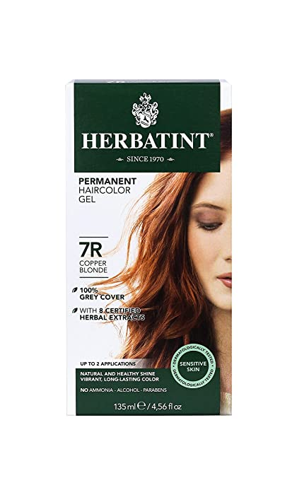 Herbatint Permanent Herbal Haircolor Gel, 7R Copper Blonde, 4.56 Ounce