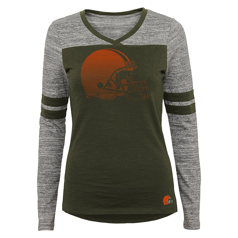 XL Cleveland Browns Outerstuff NFL Junior Girls Secret Fan Long Sleeve Football Tee 15-17 Brown Suede