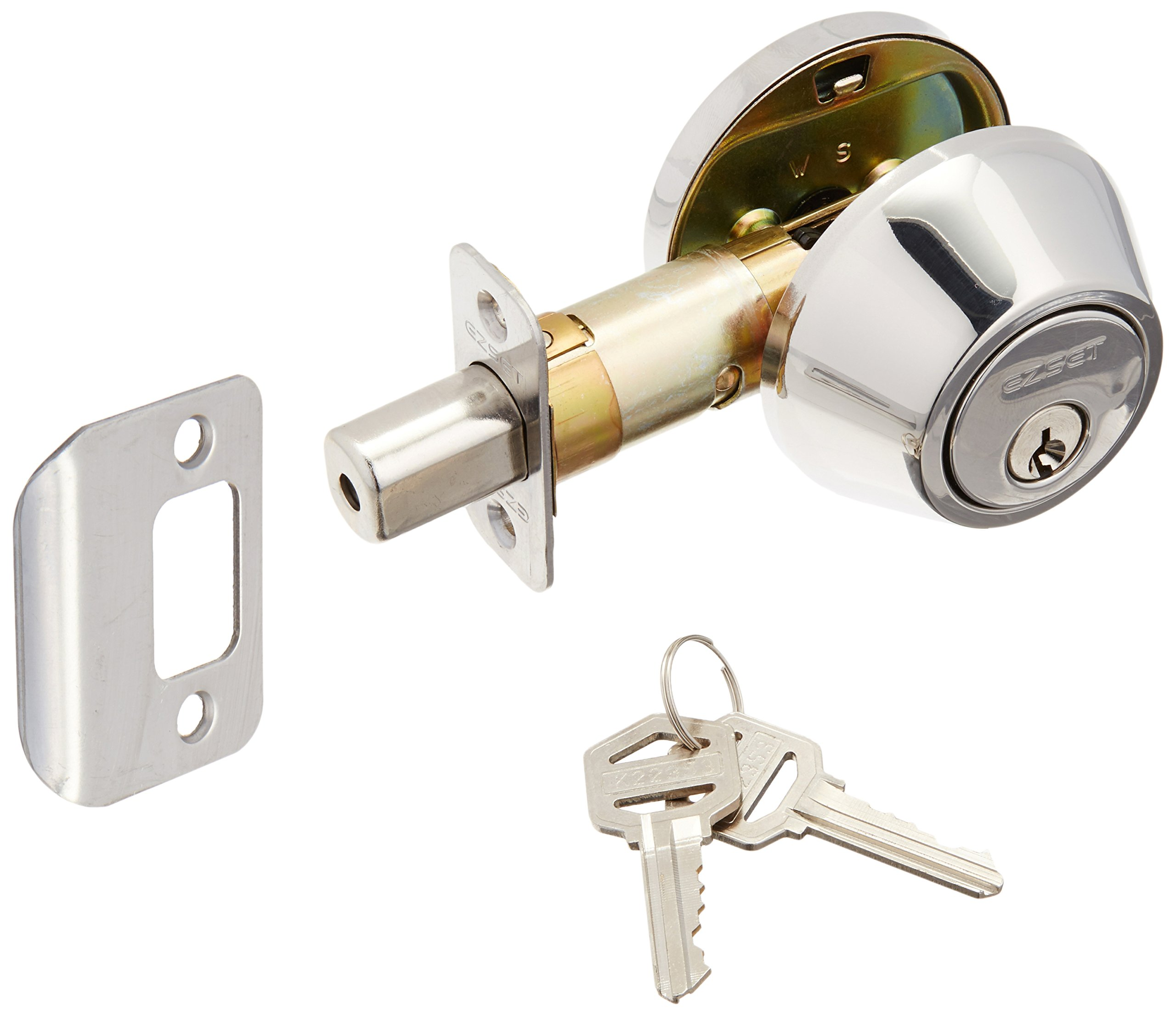 EZ-Set 231006 Single Cylinder Deadbolt by EZ-Set, Polished Chrome