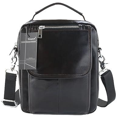 Stepack Fashion Casual Genuine Leather Bag Messenger Bag for Men Shoulder  Bag (S) 7aa849a1f519f