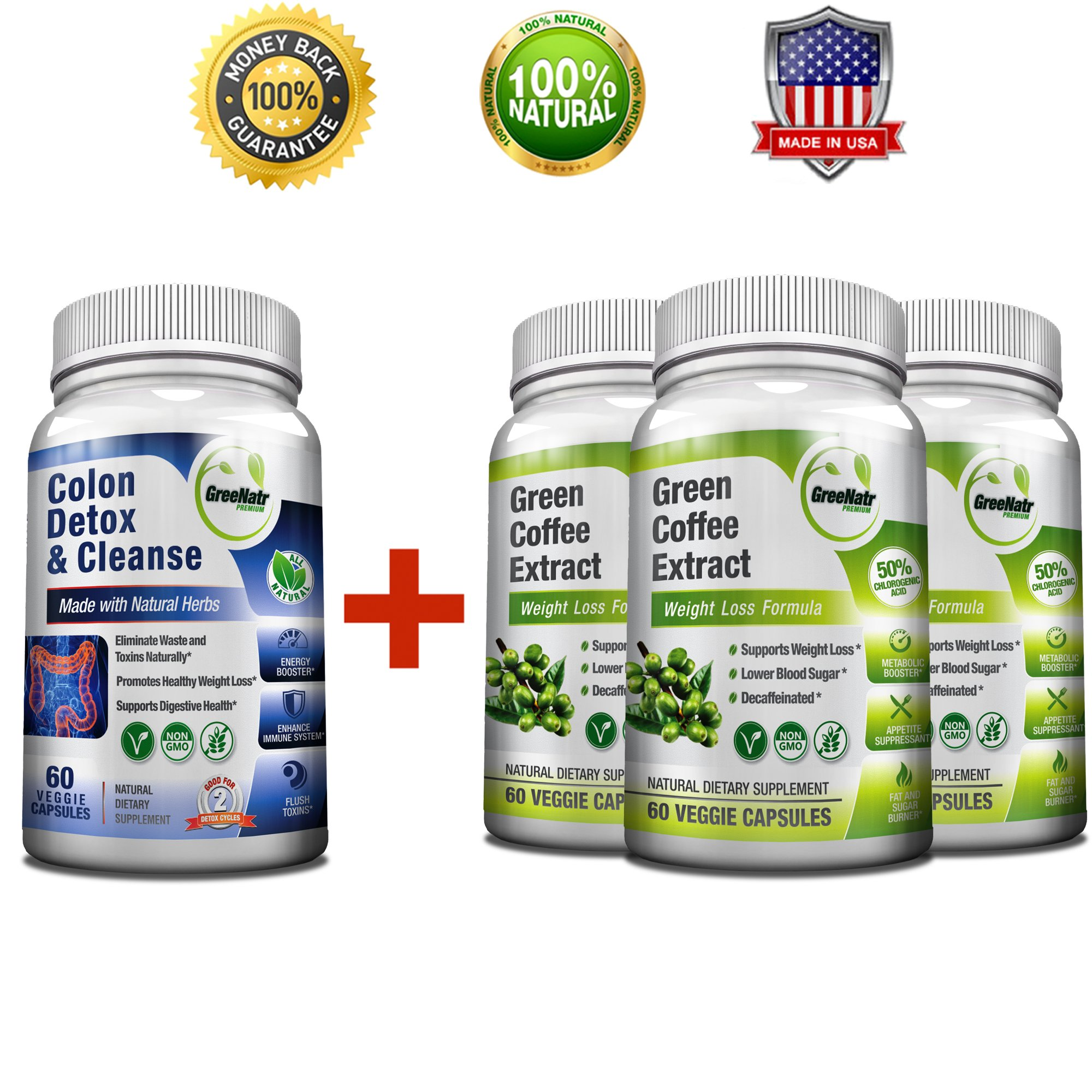 Pure Green Coffee Bean Extract + Colon Cleanse Detox Diet - Weight Loss and Detox Bundle - 240 Veggie Capsules - Gluten Free - Non GMO (3 Months Supply)