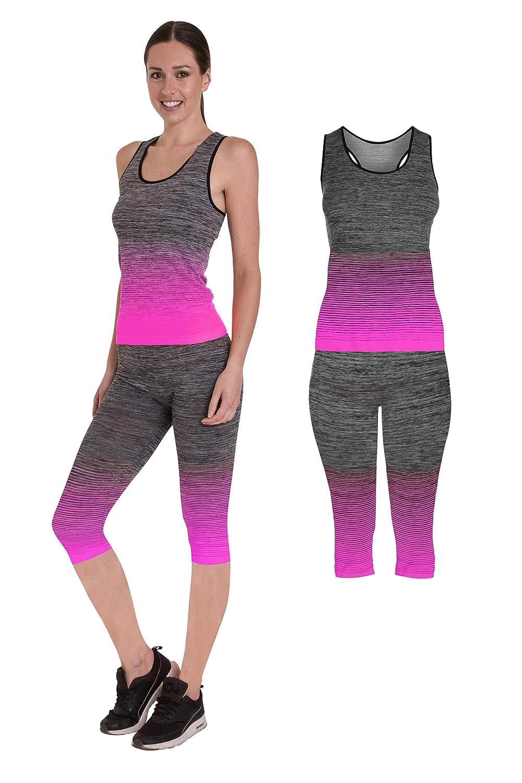 c468fd85032f2 Bonjour Femme Vêtements de Sport Wear Gilet/Crop Top et Leggings (Ensemble  2 pièces Top et Leggings) Doubler Yoga Gym Porter Ensemble, 3/4 Length Vest  Top ...