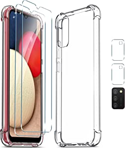 [5 in 1] WRJ Case with Screen Protector [2 Packs] + Camera Lens Screen Protector [2 Packs] for Samsung Galaxy A02S,Anti-Scratch Tempered Glass and HD Clear TPU Case for Galaxy A02S