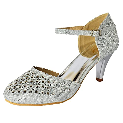 e09d3eb66a7 Womens Embellished Ankle Strap Mid Heel Party Shoes Mary Jane Sparkly Prom  Size UK 3