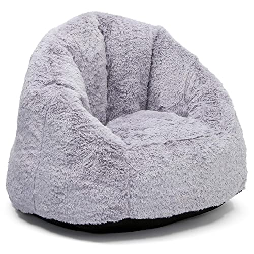 Delta Children Snuggle Foam Filled Chair, Kid Size For Kids Up To 10 Year Old , Grey