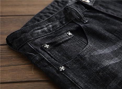 6cc07de62b7f CHFYI Herren Slim Fit Stretch Jeans Mittlere Taille Gerade Druck Jeans   Amazon.de  Bekleidung