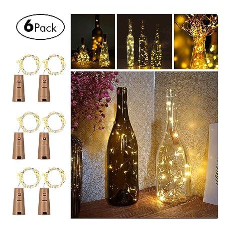 Opard cadena de luces para botella de vino, corcho, alambre ...
