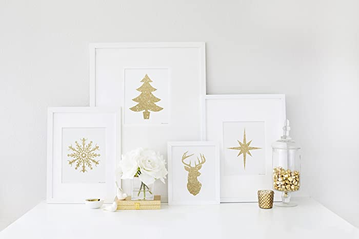 Amazon.com: 8x10 gold glitter christmas snowflake christmas tree