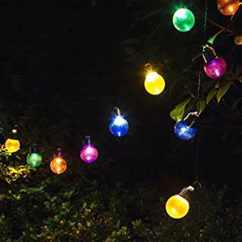Solar String Lights Outdoor Colorful Bulb Decorations Tree Light