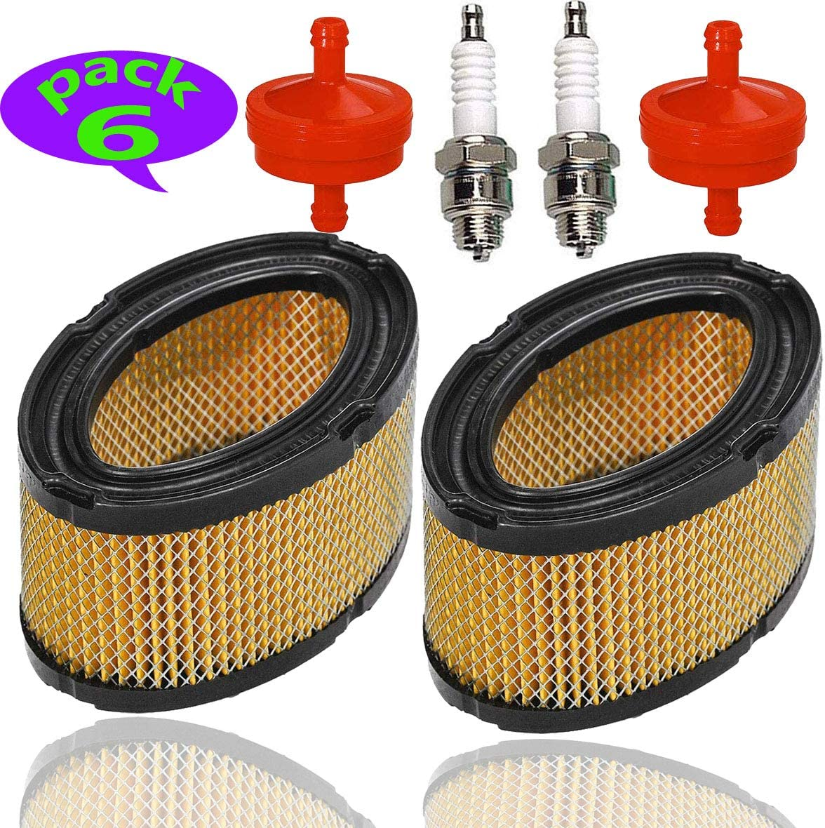 2pcs 33268 Air Filter +2pcs Fuel Filter+ 2pcs Spark Plug for Tecumseh John Deere M49746 Oregon 30-100 Stens 100-115 Prime Line 7-02232 HM70 HM80 TVM195 VM80 HM100 HXL840 7HP 8HP 10HP Horizontal Engine