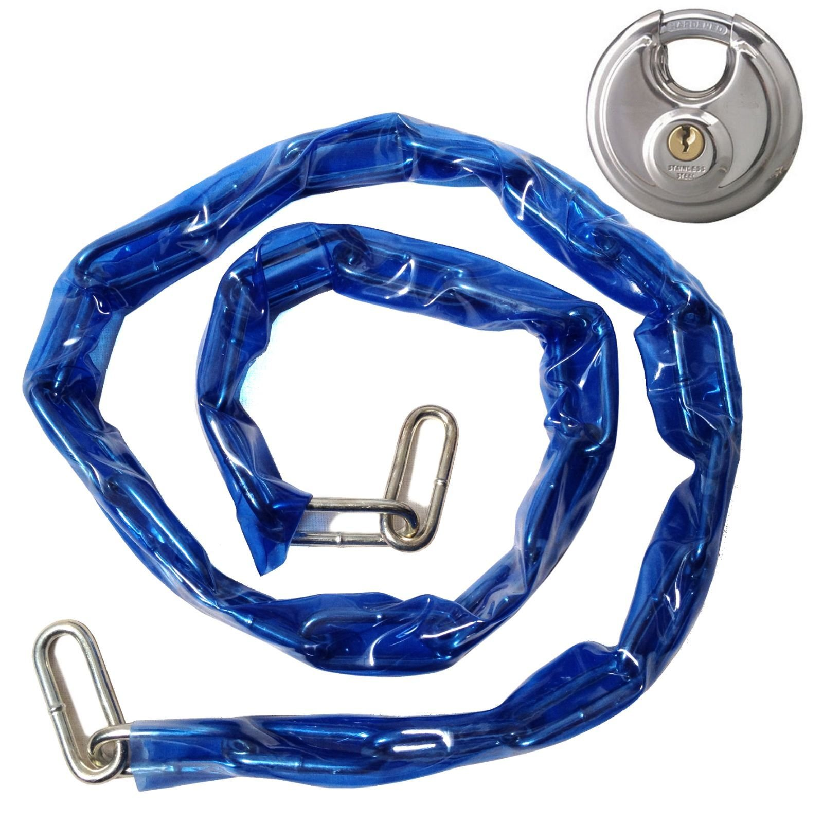 Heavy Duty 48'' Coated Metal Chain & Lock - Bicycle Security Anti-Theft Lockset with Disc Padlock