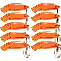 BRAMBLE! Fischietti di Emergenza Arancioni per Sopravvivenza e Sicurezza – Pacco da 10 – Dispositivo di Segnalazione – Ottimo per Campeggio, Salvataggio, Bagnini e SOS