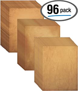 Aged Paper, 96 Sheets of Antique Looking Old Fashion Faux Parchment Paper, Letter Size 8.5 x 11 inch, Double Sided Printing Paper, by Better Office Products, Vintage Old Fashioned Faux Parchment Paper