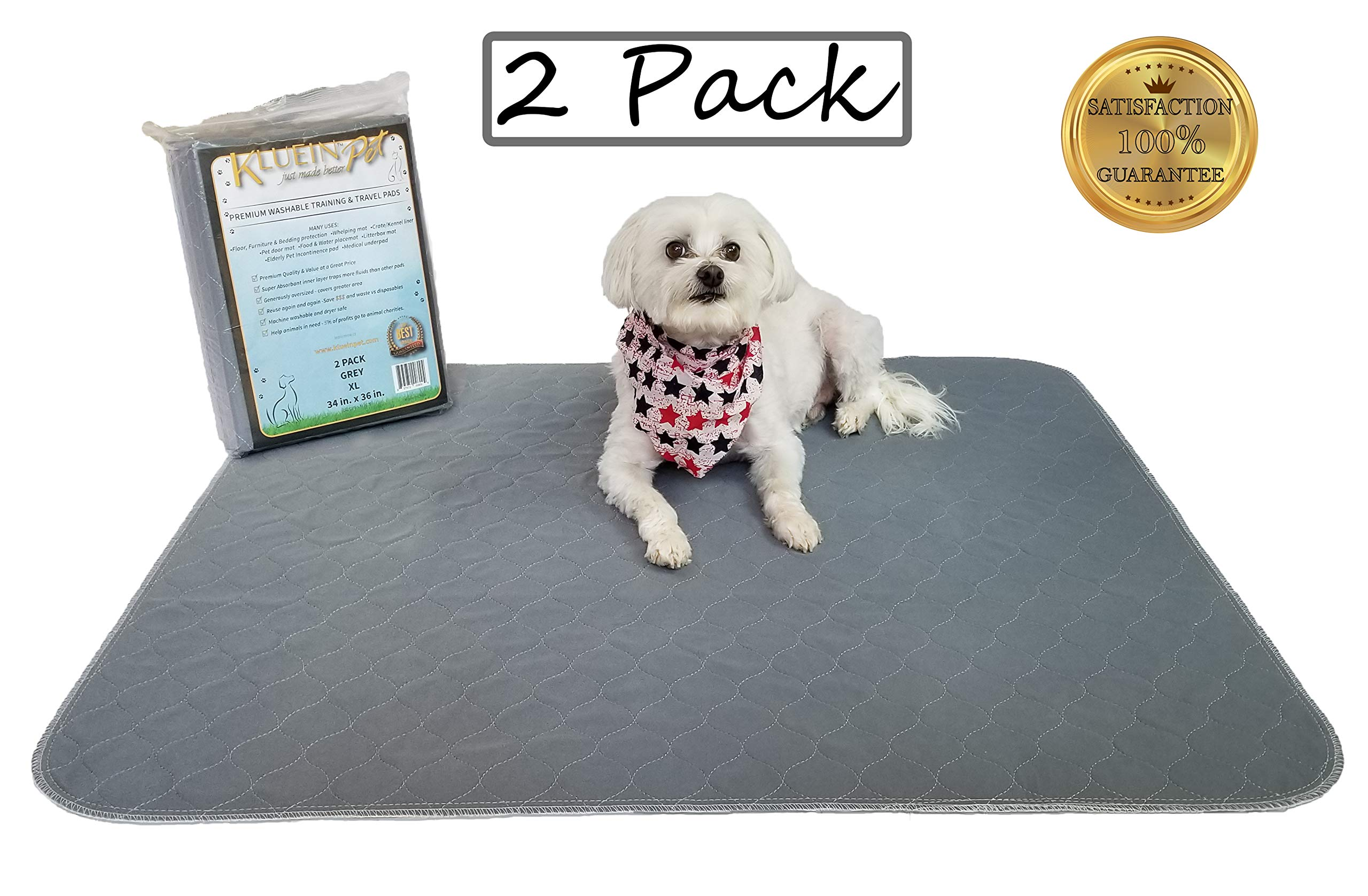 Kluein Pet Washable Pee Pads for Dogs, 2 Pack XL 34 x 36, Grey, Waterproof Reusable Puppy Pads, Fast Absorbing Wee Wee Mat; for Playpen, Housebreaking, Potty Training, Whelping, Incontinence, Travel