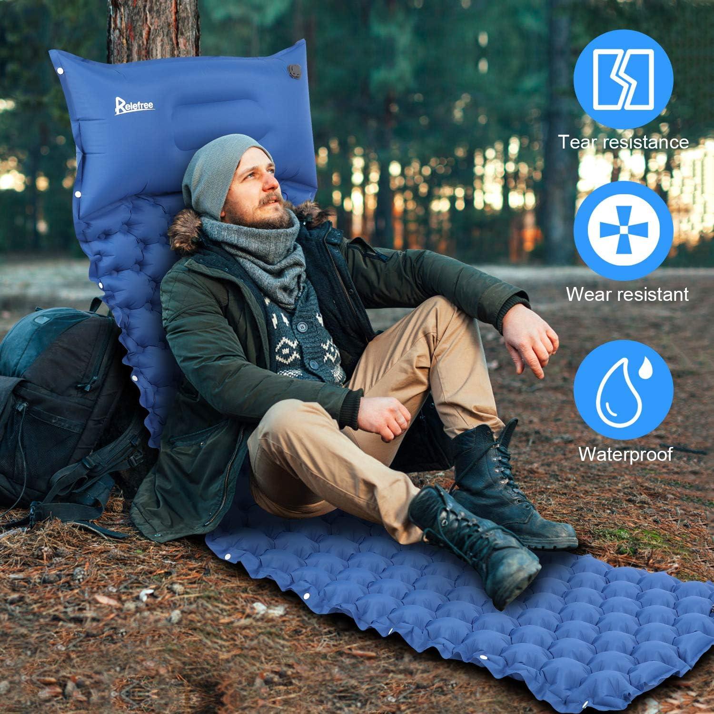 Adecuado para Acampar y Viajar Relefree Colchoneta Camping Colch/ón Hinchable Plegable Ultraligero para Acampar con La Almohada